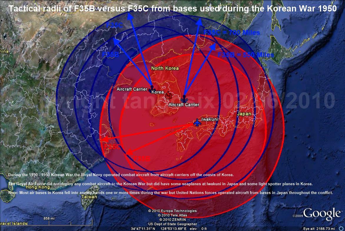F35B versus F35C tactical radii Korean War 1950 to 1953 Copyright tangosix.jpg