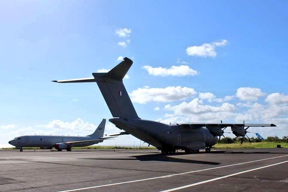 Indian Navy P-8I Neptune La Reunion island Varuna-2018 AdlA A-400M.jpg